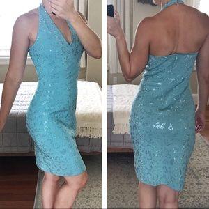 St. John Evening halter mini dress